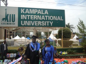 With his wife, Matthew celebrates receiving his masters degree in community development.