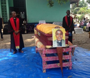 Elenga's casket at the funeral