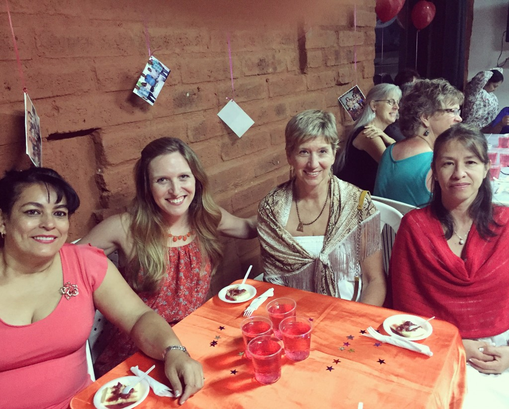 Enjoying a lovely dinner with friends at the women's retreat