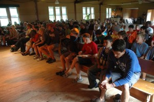 Jr. High students learning about the Thailand Covenant Camp during a Chapel Service at Covenant Point Bible Camp in 2010.