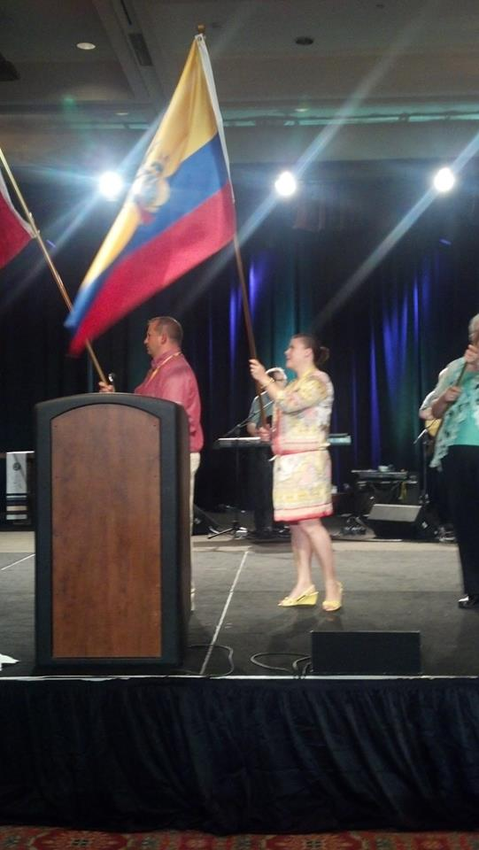 We were flag bearers at the beginning of the service Friday night.  Kim was lucky enough to carry the Ecuador flag.