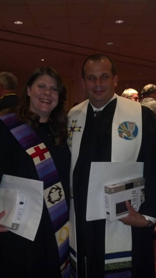 Reverend Joel and newly consecrated Kim showing off their stolls after Saturday night's service.