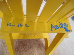 Signatures on the chair backs leave a lasting legacy.