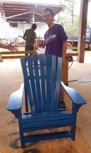 Bob's blue chair is done (with a helping hand - pictured left - from Ben)